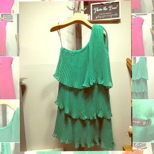 ZARA One Shoulder Emerald Green Mini Dress